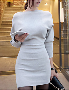 Women's Casual/Daily Simple Sophisticated Sweater Dress,Solid Boat Neck Mini Long Sleeves Spring Fall High Rise Stretchy