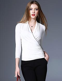 Χαμηλού Κόστους XSSL-Γυναικεία T-shirt Αργίες / Εξόδου Βίντατζ / Μπόχο / Κομψό στυλ street Μονόχρωμο Λαιμόκοψη V