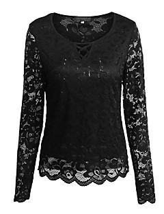 Feminino Camiseta Feriado Casual Vintage Moda de Rua Primavera/Outono Primavera/Outono/Inverno/Verão,Sólido Oco Vintage Algodão Elastano