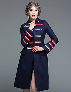 cheap Women's Outerwear-EWUS Women's Street chic Coat-Striped Vintage,Buckle Shirt Collar