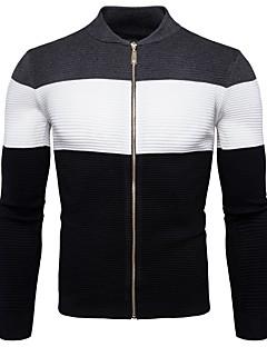 tanie Męskie swetry i swetry rozpinane-Męskie Prosty Okrągły dekolt Rozpinany Wielokolorowa Długi rękaw