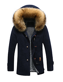 Men's Long Padded Coat,Simple Sexy Chinoiserie Going out Casual/Daily Solid Color Block-Cotton Long Sleeves