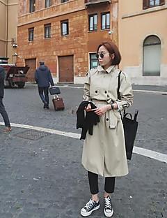 Damen Solide Einfach Ausgehen Arbeit Trench Coat,V-Ausschnitt Frühling Herbst Langarm Lang Baumwolle