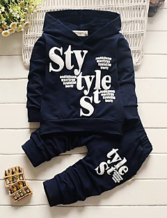 cheap Boys' Clothing-Boys' Letter Clothing Set, Cotton Acrylic All Seasons Long Sleeves Cute Casual Active Navy Blue Gray