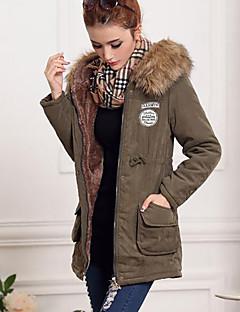 Damen Parka Mantel,Lang Einfach Lässig/Alltäglich Übergröße Solide-Baumwolle Langarm