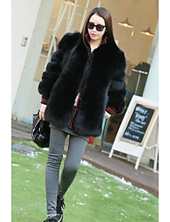 cheap -Women's Daily Going out Street chic Sophisticated Winter Fur Coat,Solid Round Neck 3/4 Length Sleeves Regular Faux Fur PU Lamb Fur