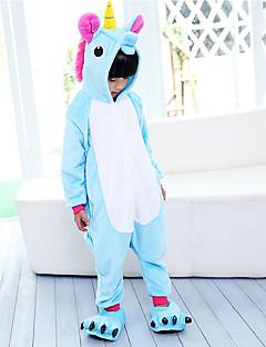 billige Kigurumi-Kigurumi-pysjamas Pegasus Enhjørning Onesie-pysjamas Kostume Flannelstoff Lilla Blå Rosa Cosplay Til Barne Pysjamas med dyremotiv