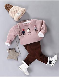 billige Undertøj og sokker til piger-Pige Nattøj Ensfarvet, Bomuld Langærmet Tegneserie Rød Lyserød