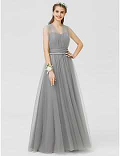 cheap Going Neutral-A-Line / Princess V Neck Floor Length Tulle Bridesmaid Dress with Bow(s) / Sash / Ribbon / Ruched by LAN TING BRIDE® / Convertible Dress