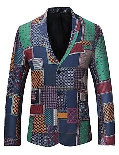 baratos -Masculino Terno Casual Vintage Inverno Outono,Estampado Padrão Algodão Colarinho de Camisa Manga Longa