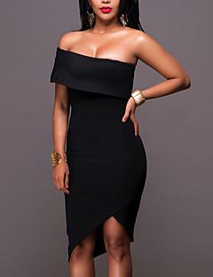 Damen Bodycon Kleid-Party Klub Einfach Sexy Solide Trägerlos Asymmetrisch Ärmellos Polyester Mittlere Hüfthöhe Mikro-elastisch Mittel