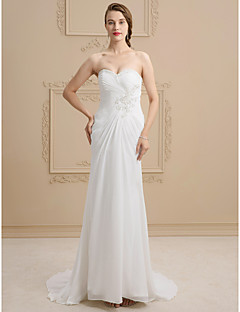 Sheath Column Sweetheart Sweep Brush Train Lace Satin Wedding Dress With Beading Liques Criss Cross By Ed Bridal