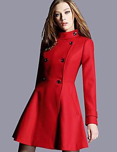 Feminino Casaco Para Noite Casual Simples Moda de Rua Sofisticado Outono Inverno,Sólido Padrão Lã Poliéster