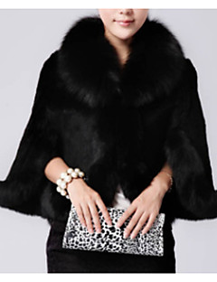 cheap -Women's Party Daily Simple Casual Winter Fur Coat,Solid Stand Long Sleeves Regular Others