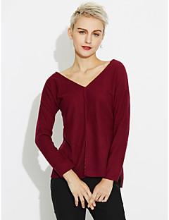 baratos Suéteres de Mulher-Mulheres Diário Sólido Manga Longa Longo Carregam, Decote V Outono Algodão Roxo M / L / XL