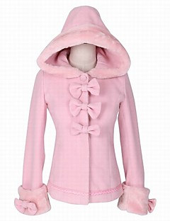 Steampunk® Cosplay Lolita Dress Pink Solid Color Long Sleeves Cloak For Wool Woolen
