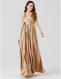 billige Kjoler til specielle anledninger-A-linje Prinsesse V-hals Gulvlang Charmeuse Skolebal / Formel aften Kjole med Plissé ved TS Couture®