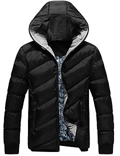 Men's Regular Padded Coat,Simple Others Solid-Cotton Long Sleeves