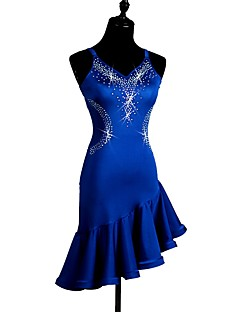 Latin Dance Dresses Womens Performance Spandex Crystals Rhinestones Sleeveless Dress