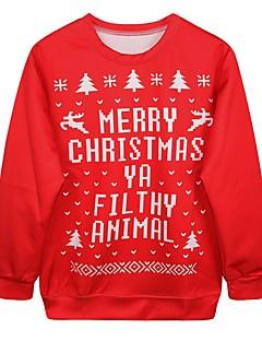 billige julen Kostymer-Nisse drakter Jerseysjakke Dame Jul Festival / høytid Halloween-kostymer Rød Printer