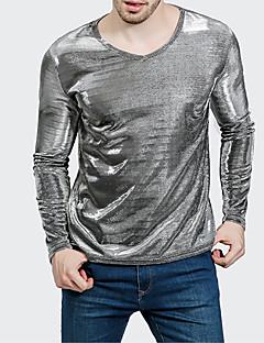 お買い得  メンズTシャツ&タンクトップ-男性用 Tシャツ ラウンドネック ソリッド コットン