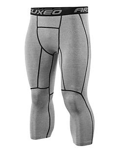 billiga Träning-, jogging- och yogakläder-Arsuxeo Herr Tights för jogging / 3/4-capribyxor för jogging - Grå, Ljusgul, Marinblå sporter Enfärgad Elastan 3/4 Strumpbyxor / Leggings