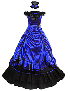 One Piece Dress Gothic Lolita Lolita Cosplay Lolita Dress Blue Vintage Cap Sleeveless Dress For Other