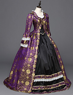 Victorian Rococo Ladies' One Piece Dress Purple Cosplay Satin Long Sleeves Floor Length