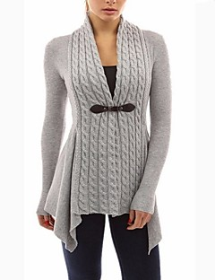 Damen Lang Strickjacke-Ausgehen Solide V-Ausschnitt Langarm Polyester Winter Herbst Mittel Mikro-elastisch