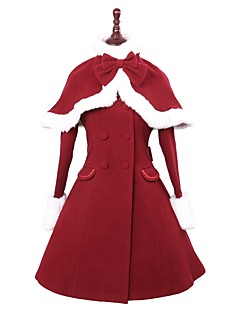Steampunk® Cosplay Lolita Dress Red Solid Color Long Sleeves Cloak For Wool Woolen