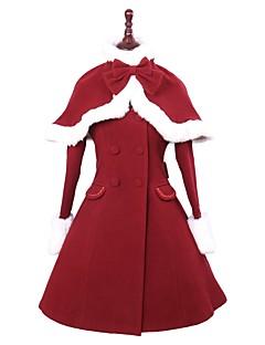 Steampunk® Cosplay Rochii Lolita Roșu Culoare solidă Manșon Lung Manta Pentru Lână De Lână