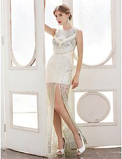 Tube / kolonne Besmykket Gulvlang Sateng Paljetter Formell kveld Kjole med Paljetter Plissert av TS Couture®