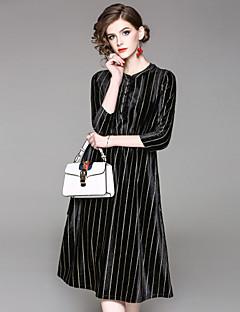 tanie SS 18 Trends-Damskie Sukienka swingowa Sukienka - Prążki Półgolf
