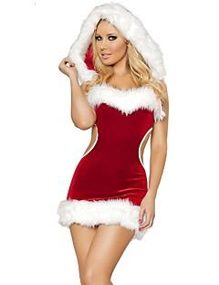 billige julen Kostymer-Ferie julenissen Mrs.Claus Drakter Kvinnelig Jul Festival / høytid Halloween-kostymer Rød Ensfarget