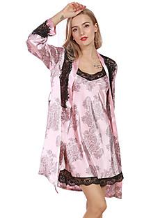 スーツ パジャマ 女性 ポリエステル 人造絹 セクシー 純色 プリント ブラック ルビーレッド ピンク キャメル グレー
