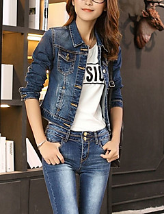 Women's Going out Simple Casual Spring Denim Jacket,Solid Shirt Collar Long Sleeve Short Polyester