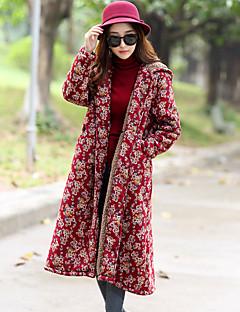 Damen Blumenmuster Einfach Ausgehen Lässig/Alltäglich Trench Coat,Hemdkragen Herbst Winter Langarm Lang Baumwolle Kunstseide Polyester