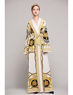 Χαμηλού Κόστους Long Sleeve Dresses-Γυναικεία Μεγάλα Μεγέθη Swing Φόρεμα Στάμπα Μακρύ Λαιμόκοψη V