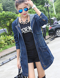 Women's Daily Going out Simple Casual Winter Fall Denim Jacket,Solid Hooded Long Sleeves Long Cotton