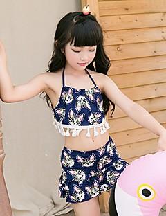 billige Badetøj til piger-Pige Geometrisk Badetøj, Polyester Navyblå