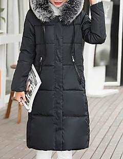 billige Overtøj til damer-Lang Hvide gåsedun Dynejakke - Ensfarvet Krave