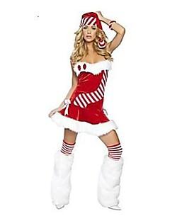 billige julen Kostymer-Ferie Mrs.Claus julenissen Drakter Dame Jul Festival / høytid Halloween-kostymer Rød Ensfarget Jul Ferie