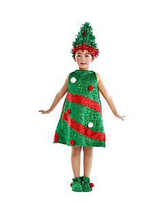 billige julen Kostymer-julenissen Kjoler Cosplay Kostumer Party-kostyme Barne Jul Halloween Festival / høytid Bomull Drakter Grønn Ferie Jul