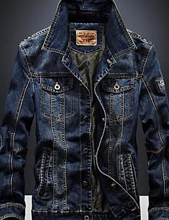 billige Herre Mode Beklædning-Trykt mønster, Herre Helfarve Jakke Bomuld Denimstof