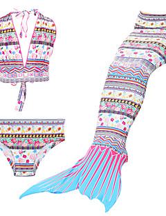 billige Badetøj til piger-Pige Trykt mønster Tegneserie Badetøj, Nylon Blå Hvid Rød Lilla Gul
