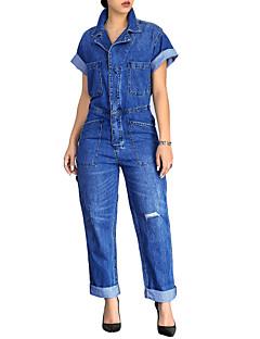 preiswerte -Damen Solide Ausgehen Lässig/Alltäglich Einfach Sexy Overall Schlank,Kurzarm Hemdkragen Sommer Herbst Polyester