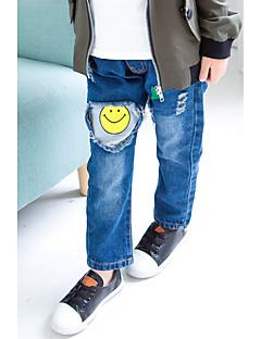 billige Drengebukser-Drenge Bukser Ensfarvet Tegneserie, Bomuld Polyester Forår Efterår Simple Blå