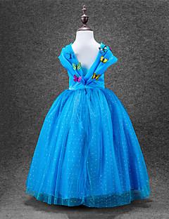billige Halloweenkostymer-Cinderella Kjoler Party-kostyme Barne Jul Maskerade Bursdag Festival / høytid Halloween-kostymer Blå Ensfarget Ballkjole Sko Mesh