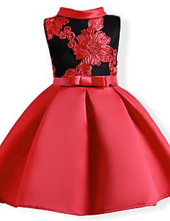 tanie Odzież dla dziewczynek-Sukienka Bawełna Poliester Dziewczyny Kwiaty Patchwork Lato Krótki rękaw Kwiatowy Fuchsia Czerwony Niebieski
