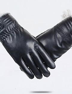 baratos Acessórios de Inverno-Homens Cashmere Poliuretano, Até o Pulso Ponta dos Dedos Luvas Sólido